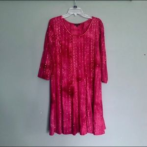 Red tie dye and sequin fit and flare dress